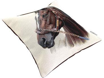 Housse de coussin 45x45 cm CASTEL Cheval de profil polycoton acrylique