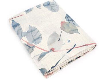 Drap plat 180x290 cm 100% coton FEUILLAGES bleu Boréal
