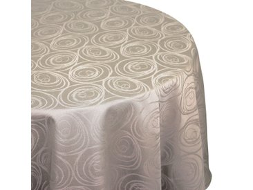 Nappe ovale 180x240 cm Jacquard 100% coton SPIRALE taupe