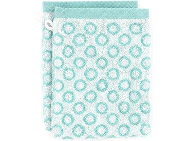 Lot de 2 gants de toilette 16x21 cm GRAPHIC CIRCLE bleu