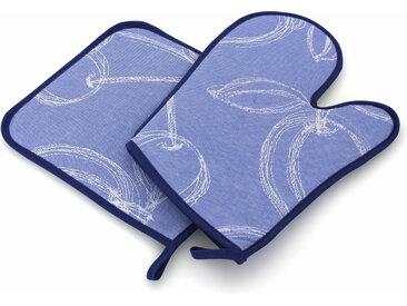 Set de cuisine 2 pièces : gant de cuisine et manique LINE Bleu