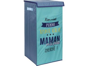 Panier à linge cartonnée avec couvercle 54L bleu Rien n'est perdu tant que maman n'a pas cherché