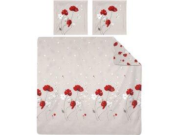 Parure de lit 260x240 cm Percale pur coton CYBELE FLOWERS Ecru 3 pièces