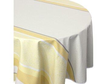 Nappe ronde 170 cm Jacquard 100% coton + enduction acrylique EDEN SOLEIL Jaune