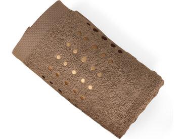 Serviette de toilette 50x100 cm 100% coton 550 g/m2 PURE POINTS Marron Taupe