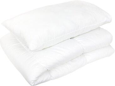 Pack couette oreiller 120x150 et 42x62 cm GAVROCHE 100% polyester blanc