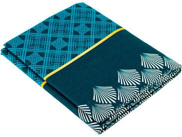 Drap plat 280x310 cm 100% coton TALISMAN bleu Paon