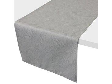 Chemin de table 45x150 cm Jacquard 100% coton CUBE gris Perle