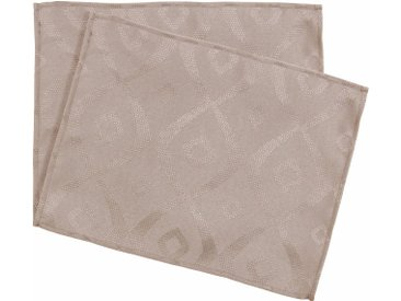 Lot de 2 sets de table 35x45 cm Jacquard 100% polyester BRUNCH taupe