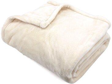Plaid polaire 150x200 cm microvelours 100% Polyester 320 g/m2 VELVET Ivoire