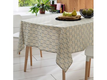 Nappe rectangle 160x200 cm GRAPHIC beige 100% coton + enduction acrylique