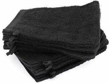 Lot de 12 gants de toilette 16x21 cm ALPHA noir