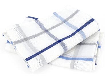 Lot de 2 torchons de cuisine toile 50x70 cm SQUARES LIN bleu coton et lin