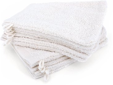 Lot de 12 gants de toilette 16x21 cm ALPHA blanc