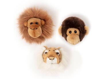 Peluche trophée mini 3 petites têtes collection Jungle
