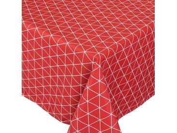 Nappe rectangle 150x300 cm imprimée 100% polyester PACO géométrique rouge Cerise