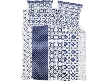 Parure de lit 260x240 cm 100% coton PADANG bleu 3 pièces