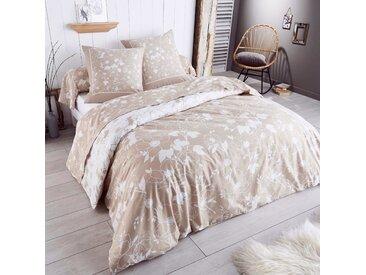 Parure de drap 280x300 cm flanelle de coton COLETTE beige 3 pièces