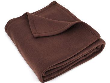 Couverture polaire 220x240 cm Isba marron Chocolat 100% Polyester 320 g/m2 traité non-feu