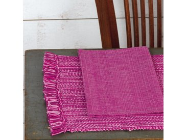 Set de table Cocina 45x33 cm avec serviette assortie Franges rose et fuchsia