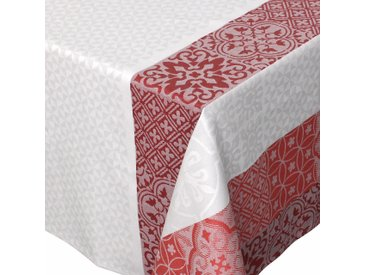 Nappe carrée 150x150 cm Jacquard 100% coton + enduction acrylique MOSAIC RUBIS Rouge
