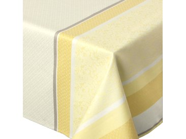 Nappe rectangle 150x350 cm Jacquard 100% coton + enduction acrylique EDEN SOLEIL Jaune