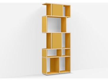Bibliothèque sur measure en Panneaux de Particules - Jaune – design, moderne