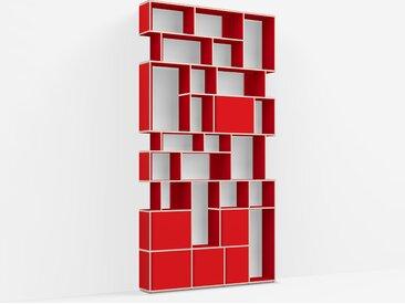 Bibliothèque sur measure en Panneaux de Particules - Vrai Rouge – design, moderne
