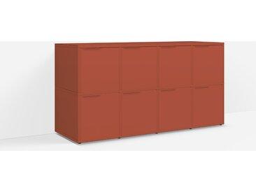 Meuble TV sur mesure en panneaux de particules rouge terracotta – scandinave, design