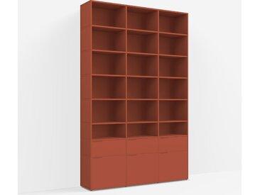 Meuble bibliothèque sur mesure en panneaux de particules rouge terracotta