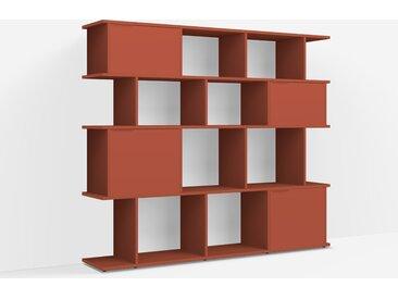 Bibliothèque sur mesure en panneaux de particules rouge terracotta – design, moderne
