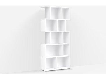 Bibliothèque sur mesure en panneaux de particules blancs – design, moderne