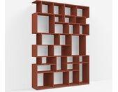 Étagère Bibliothèque sur mesure en panneaux de particules rouge terracotta – design, moderne