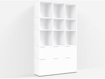 Étagère Bibliothèque sur mesure en panneaux de particules blancs – design, moderne