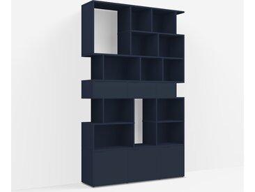 Meuble bibliothèque sur mesure en panneaux de particules bleu nuit