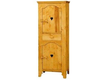 Bonnetière 2 portes motifs cœurs en pin massif Tradition