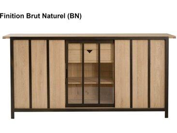 Buffet haut chêne massif 2+1 portes Verrière