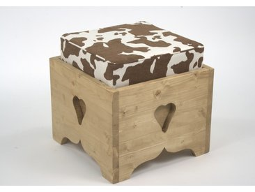 Pouf coffre pin massif assise tissu vache