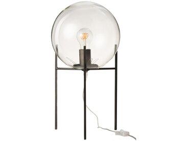 LAMPE BOULE SUR PIED VERRE/METAL NOIR