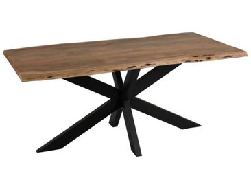 TABLE DE SALE A MANGER PLATEAU IRREGULIER METAL/BOIS NOIR/NATUREL