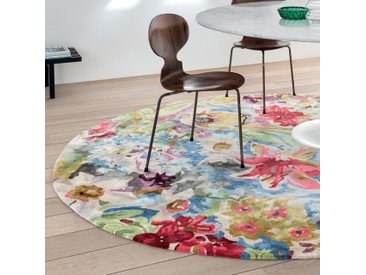 Tapis Rond Blooming motifs Multicolores fleuris