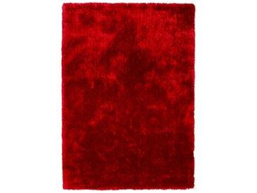 Tapis Shaggy Rouge-Bordeaux en Polyester