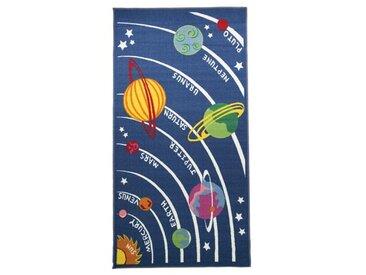 Tapis Enfant Bleu Marine système solaire avec noms des planètes Espace