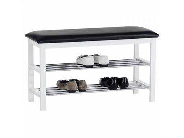 IDIMEX Banc à chaussures SANA, 2 étagères, noir/blanc