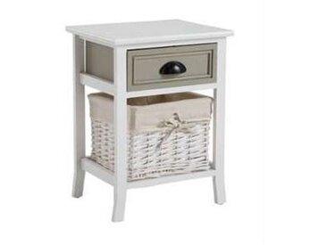 idimex Table de chevet TOSCANA, 1 tiroir et 1 panier, blanc