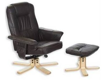 idimex Fauteuil de relaxation avec repose-pieds CHARLY, brun