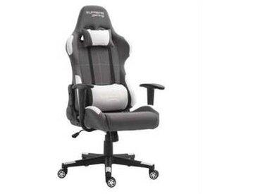 idimex Chaise de bureau gaming SWIFT, gris et blanc