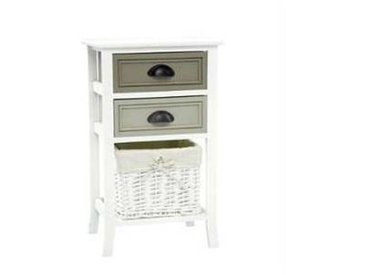 idimex Table de chevet TOSCANA, 2 tiroirs et 1 panier, blanc
