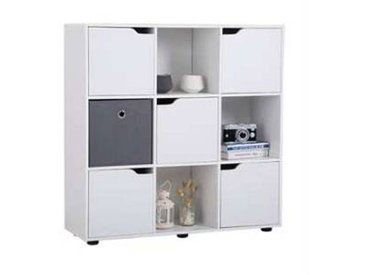 idimex Bibliothèque VERMONT, rangement 9 casiers décor blanc mat