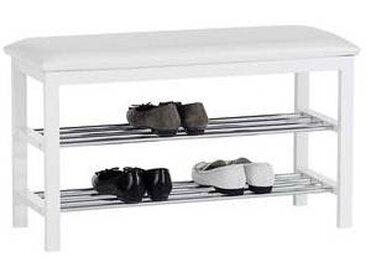 idimex Banc à chaussures SANA, 2 étagères, blanc